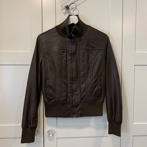 Brown Faux Leather Bomber Jacket (M)